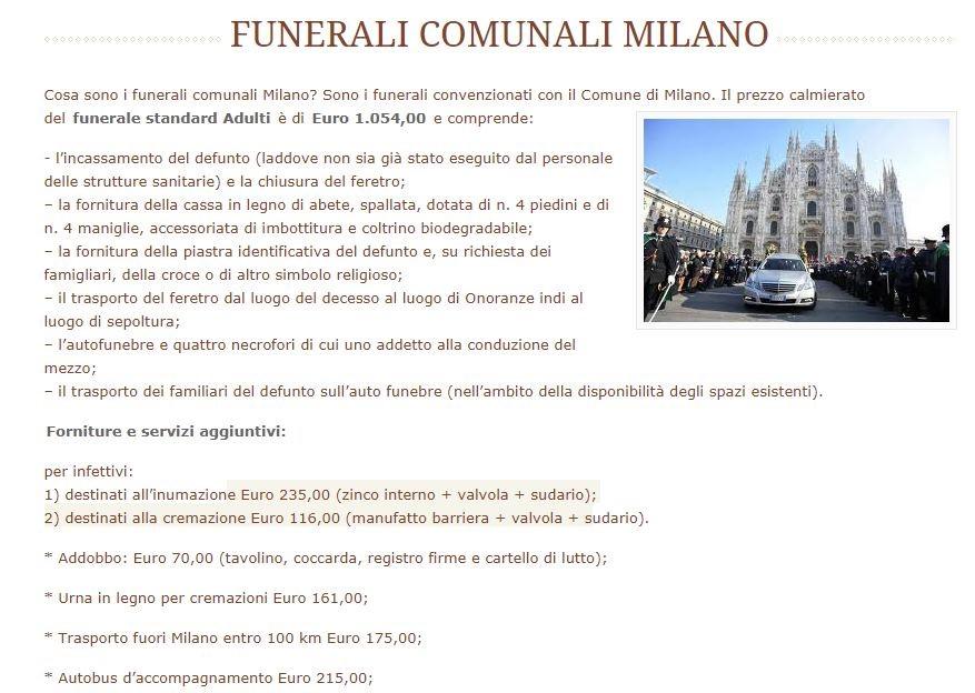 Funerali Calmierati Milano